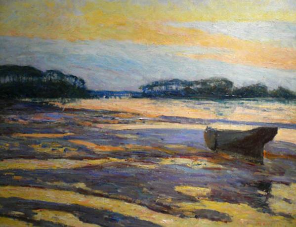 Crépuscule jaune à Loctudy - M.Maufra-cp2 - © Collection privée - Chasse-marée - Edition de l'Estran