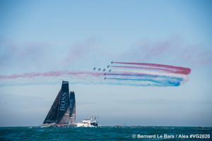 Alex Thomson à la barre de Hugo Boss au départ du Vendée Globe 2020 - © Bernard Le Bars / Alea