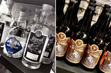 Deux gins de la Distillerie d'Occitanie et les bières de la Brasserie du Pays Toy - © Dominique Marché