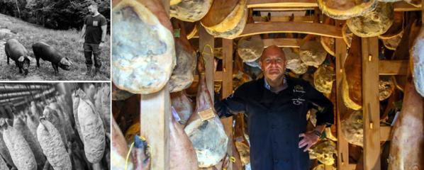 Franck Pomarez éleveur de porcs noirs et l'incroyable cave à jambons de Pierre Sajous - © Dominique Marché