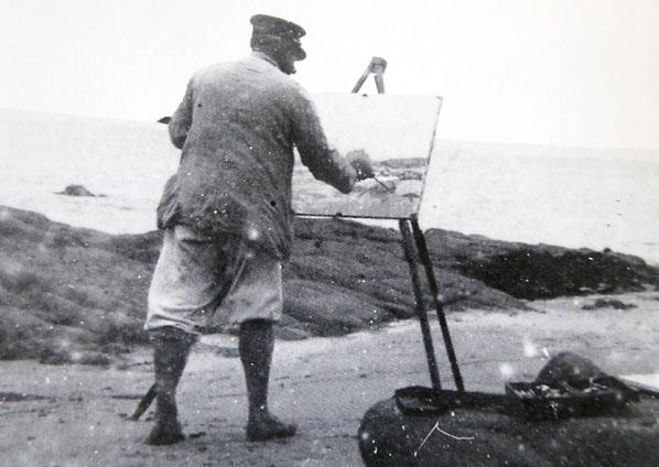 Maufra avec son chevalet - © Chasse-marée - Edition de l'Estran