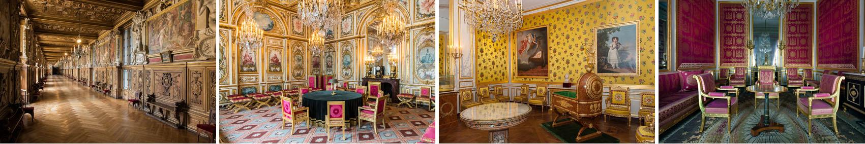 Galerie Francois Ier - Salle du Conseil - © Serge Reby / Salon d'abdication Grands Appartements - © Béatrice Lécuyer Bibal