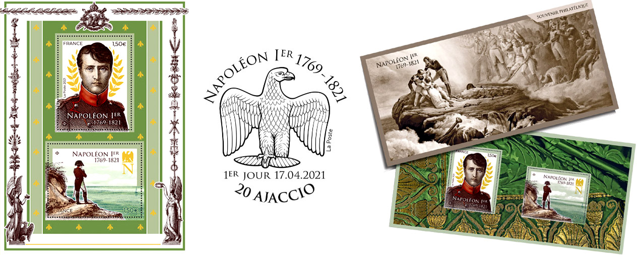 Bloc de timbres pour le bicentenaire de la mort de Napoléon Ier.